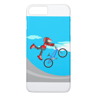 Young BMX gives an intrepid jump in their bicycle iPhone 8 Plus/7 Plus Case