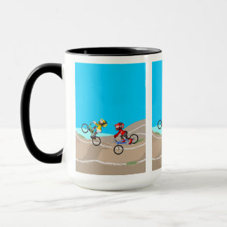 Young BMX in its bicycle competing in the track Mug