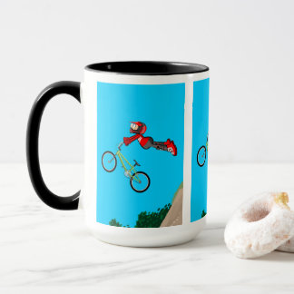 Young BMX in its bicycle giving a great jump Mug