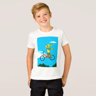 Young BMX in its bicycle jumping by the air T-Shirt