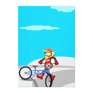 Young BMX in its bicycle jumping in the incline Canvas Print