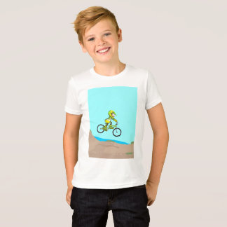 Young BMX in its bicycle landing in pizta T-Shirt