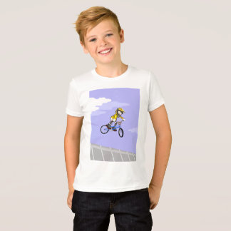 Young BMX in its bicycle lowering in bite T-Shirt