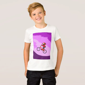 Young BMX in its bicycle raising the hill T-Shirt