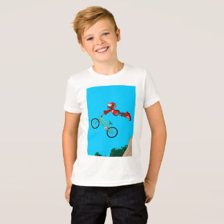 Young BMX in its green bicycle jumping T-Shirt