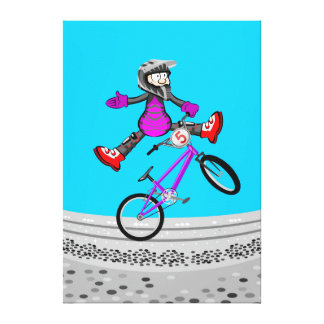 Young BMX in its opened bicycle of legs Canvas Print