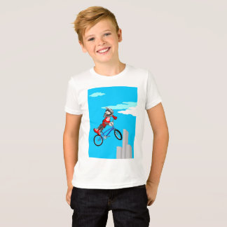 Young BMX jumps turned over towards a side in T-Shirt