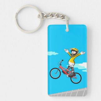 Young BMX jumps with their bicycle without taking Key Ring