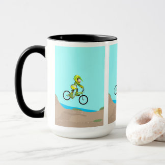 Young BMX landing in the earth track Mug