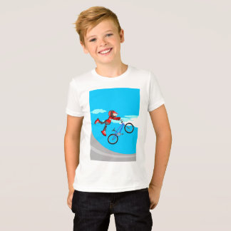 Young BMX of the red equipment jumping in its T-Shirt