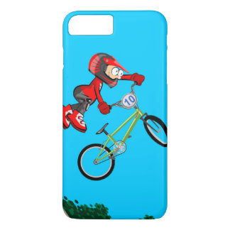 Young BMX of the red equipment making a pirouette iPhone 8 Plus/7 Plus Case