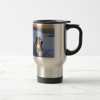 Young border collie dog fetching stick on beach travel mug