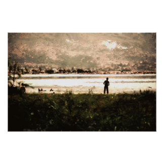 Young boy fishing at the lake in Haiti Poster