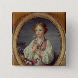 Young Boy with a Basket of Flowers 15 Cm Square Badge