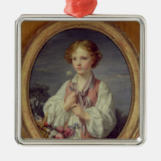 Young Boy with a Basket of Flowers Christmas Ornament