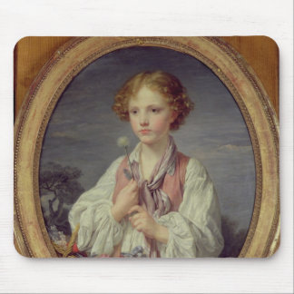 Young Boy with a Basket of Flowers Mouse Mat