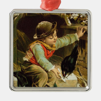 Young Boy with Birds in the Snow Christmas Ornament