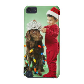 Young boy wrapping Christmas lights around a dog iPod Touch 5G Case
