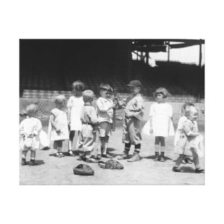 Young Boys and Girls on the Baseball Field Gallery Wrapped Canvas
