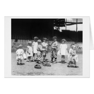 Young Boys and Girls on the Baseball Field Greeting Cards