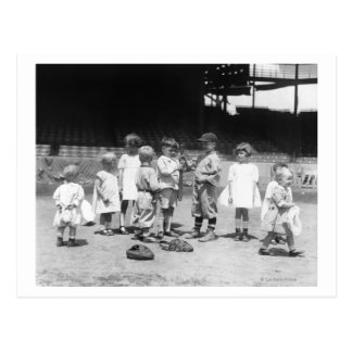 Young Boys and Girls on the Baseball Field Postcard