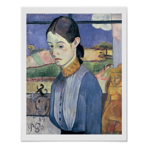 Young Breton Woman, 1889 (oil on canvas) Poster