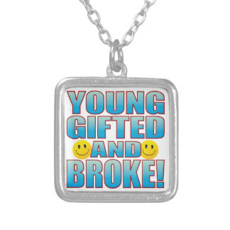 Young Broke Life B Square Pendant Necklace