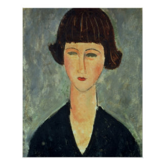 Young Brunette, 1917 (oil on canvas) Posters