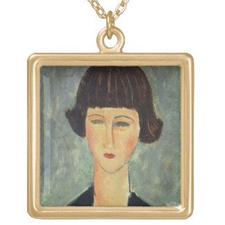 Young Brunette, 1917 (oil on canvas) Square Pendant Necklace