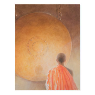 Young Buddhist Monk and Gong Bhutan 2010 Postcard