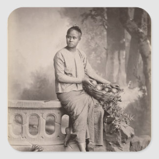 Young Burmese girl, c.1880 Square Sticker