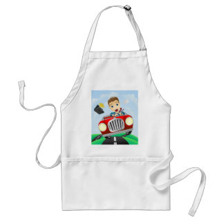 Young businessman driving fast classic car aprons
