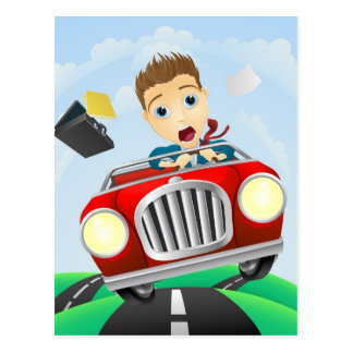 Young businessman driving fast classic car postcard