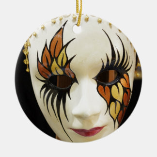 Young Ceramic Carnival Mask Round Ceramic Decoration