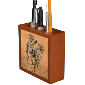 Young Cheetahs (Acinonyx Jubatus) Running Desk Organiser
