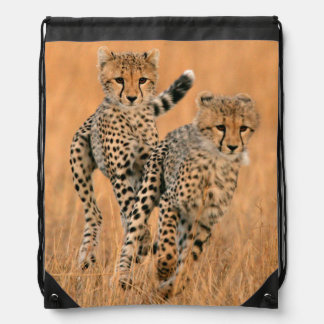 Young Cheetahs (Acinonyx Jubatus) Running Drawstring Bag