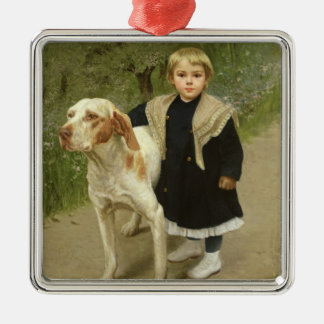 Young Child and a Big Dog (oil on canvas) Christmas Ornament