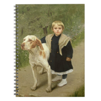 Young Child and a Big Dog oil on canvas Notebooks