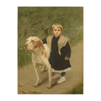 Young Child and a Big Dog (oil on canvas) Wood Wall Decor