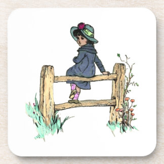 Young Child In A Raincoat Beverage Coaster