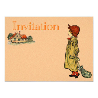 Young Child In A Raincoat Personalized Invitations