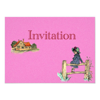 "Young Child In A Raincoat 5.5"" X 7.5"" Invitation Card"