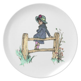 Young Child In A Raincoat Plate