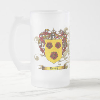 Young Coat of Arms 16 Oz Frosted Glass Beer Mug