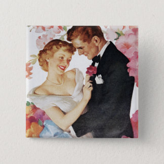 Young couple in formal wear 15 cm square badge