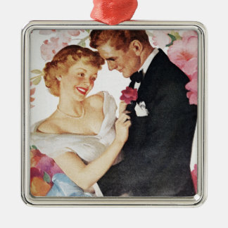 Young couple in formal wear christmas ornament