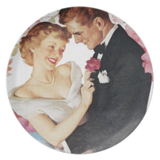 Young couple in formal wear plate