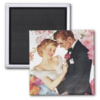 Young couple in formal wear square magnet