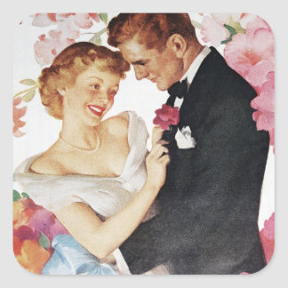 Young couple in formal wear square sticker
