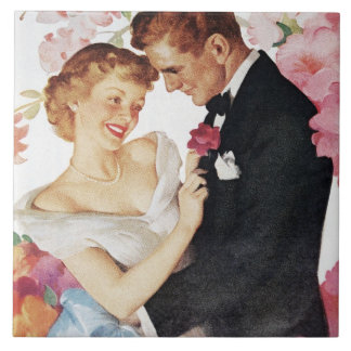 Young couple in formal wear tile